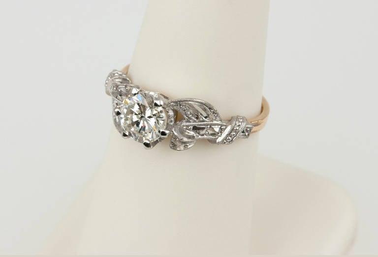 Edwardian 0.84 Carat Diamond Gold Platinum Engagement Ring For Sale 3