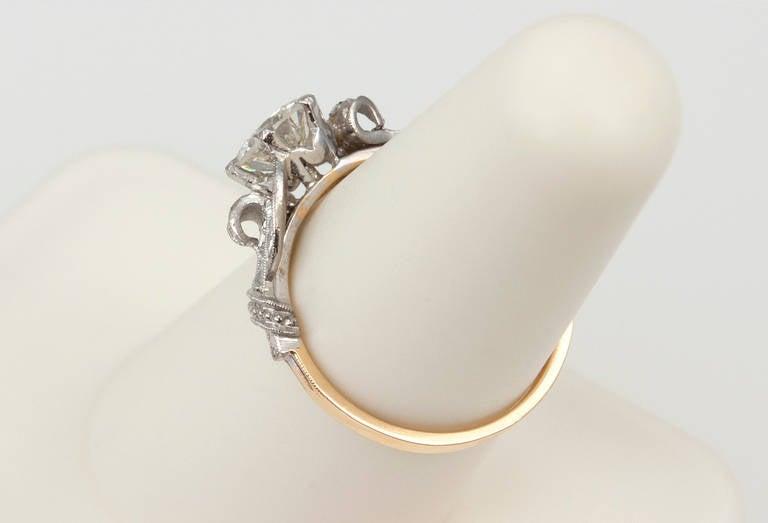 Edwardian 0.84 Carat Diamond Gold Platinum Engagement Ring For Sale 2