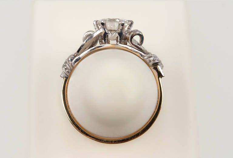 Edwardian 0.84 Carat Diamond Gold Platinum Engagement Ring For Sale 4