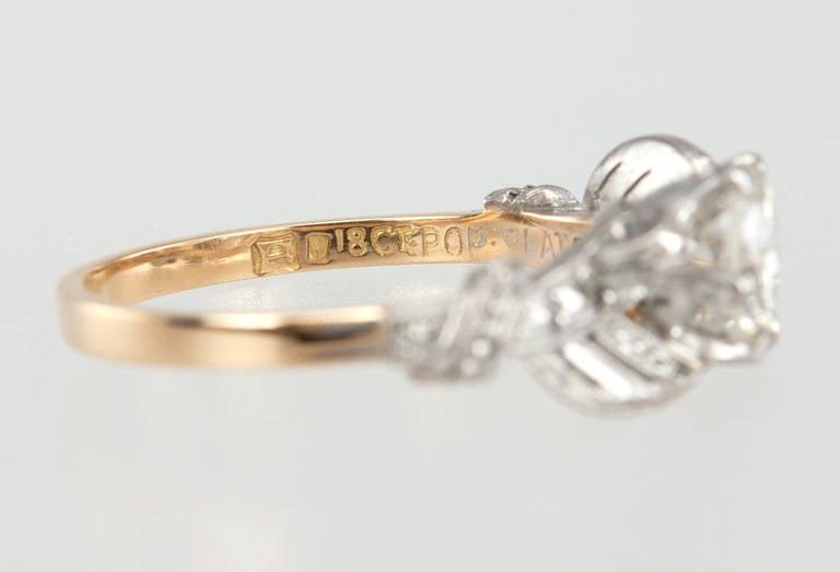 Edwardian 0.84 Carat Diamond Gold Platinum Engagement Ring For Sale 5