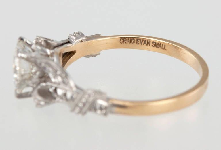 Edwardian 0.84 Carat Diamond Gold Platinum Engagement Ring For Sale 6