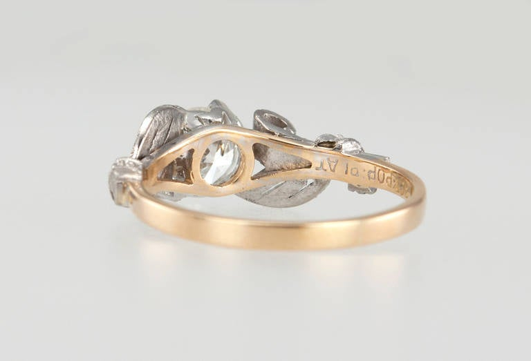 Edwardian 0.84 Carat Diamond Gold Platinum Engagement Ring For Sale 1