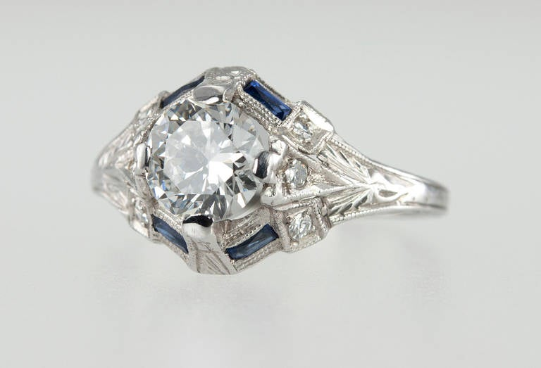 Art deco 093 carat diamond engagement ring with sapphire for Wedding ring sets with sapphire accents