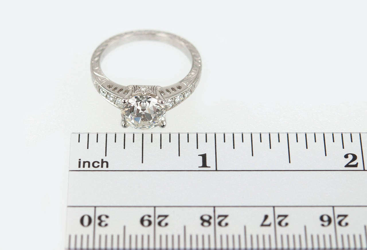 1.91 Carat Old European Cut Diamond Platinum Engagement Ring 9