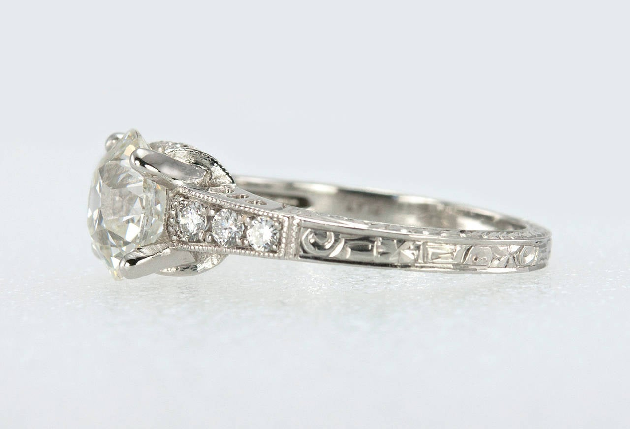 1.91 Carat Old European Cut Diamond Platinum Engagement Ring 3