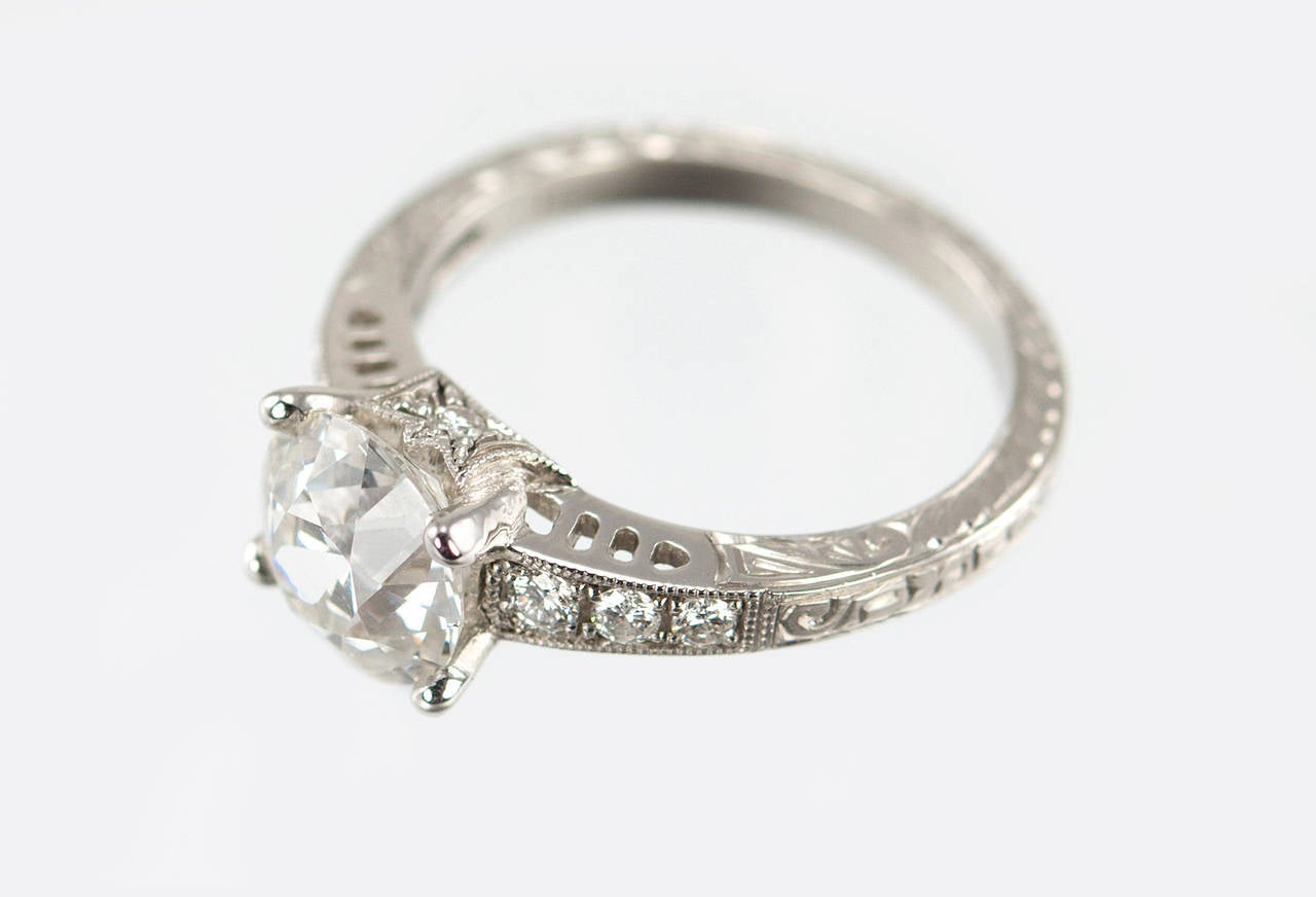 1.91 Carat Old European Cut Diamond Platinum Engagement Ring 4