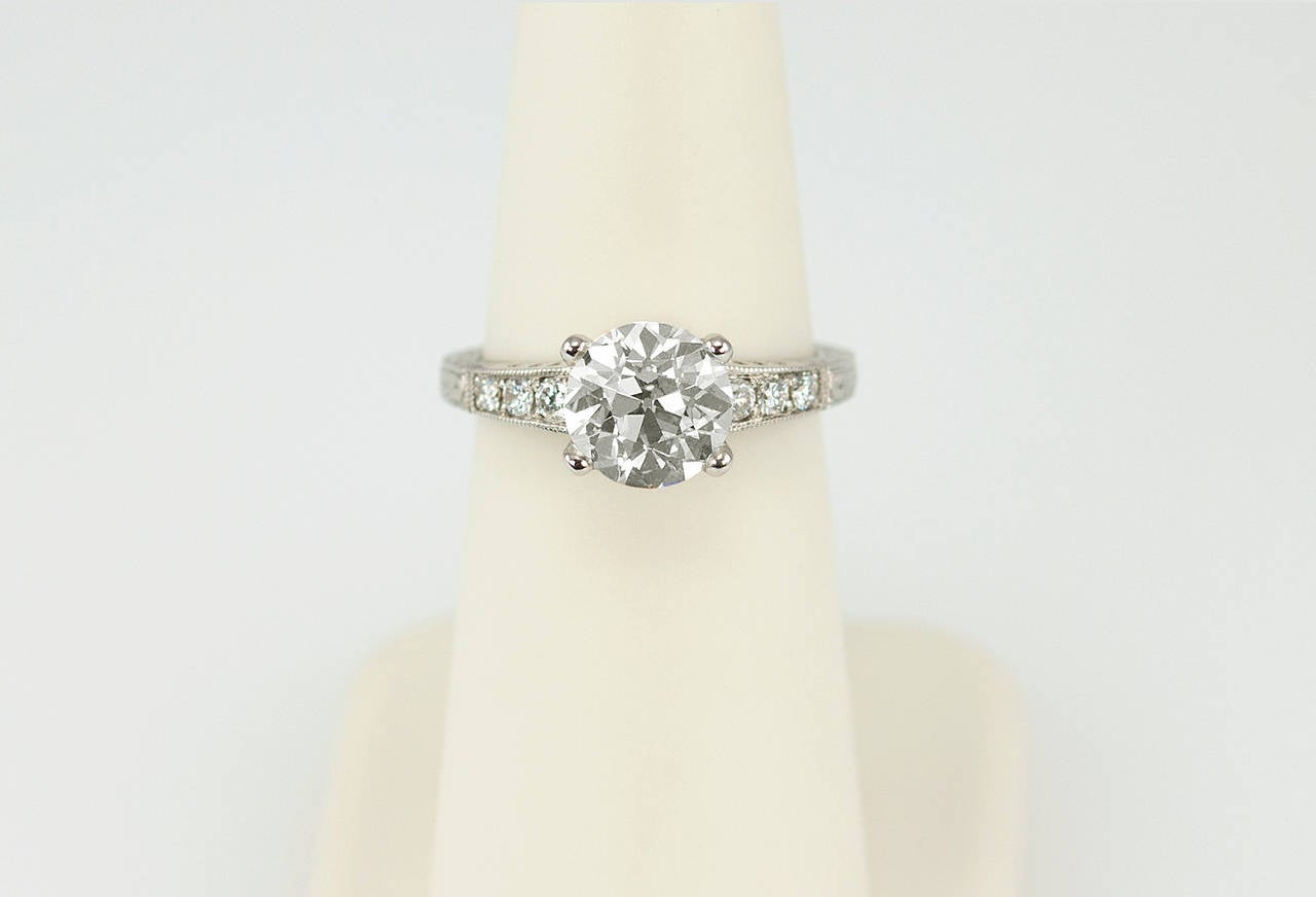 1.91 Carat Old European Cut Diamond Platinum Engagement Ring 7
