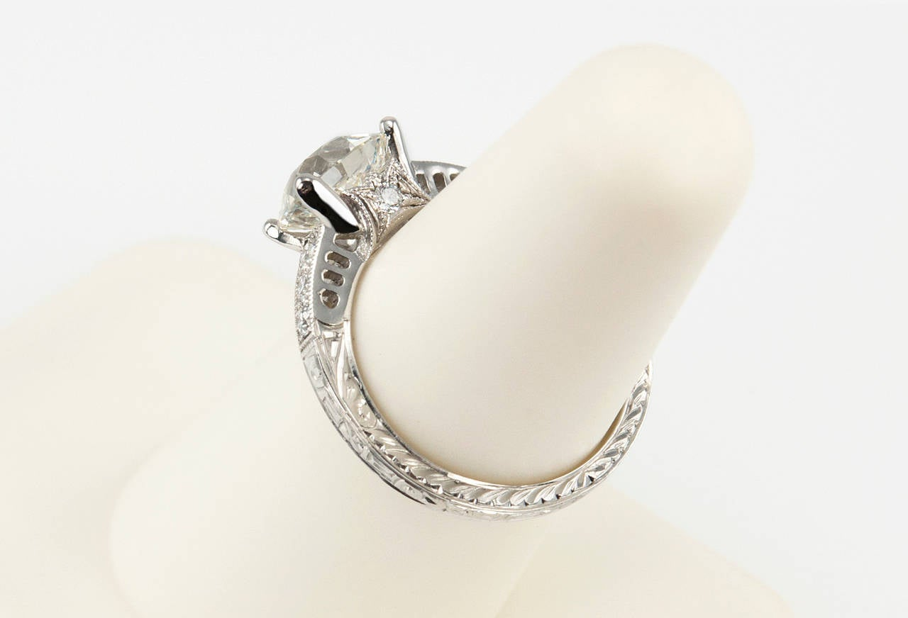 1.91 Carat Old European Cut Diamond Platinum Engagement Ring 8