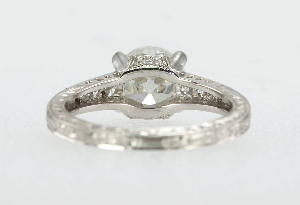 1.91 Carat Old European Cut Diamond Platinum Engagement Ring 5