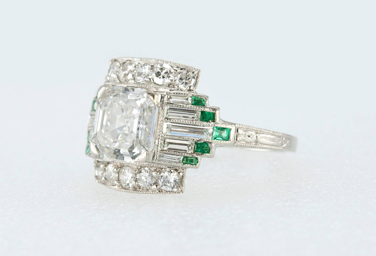 1930s 151 Carat Gia Cert Asscher Cut Diamond Emerald Platinum Engagement  Ring 3