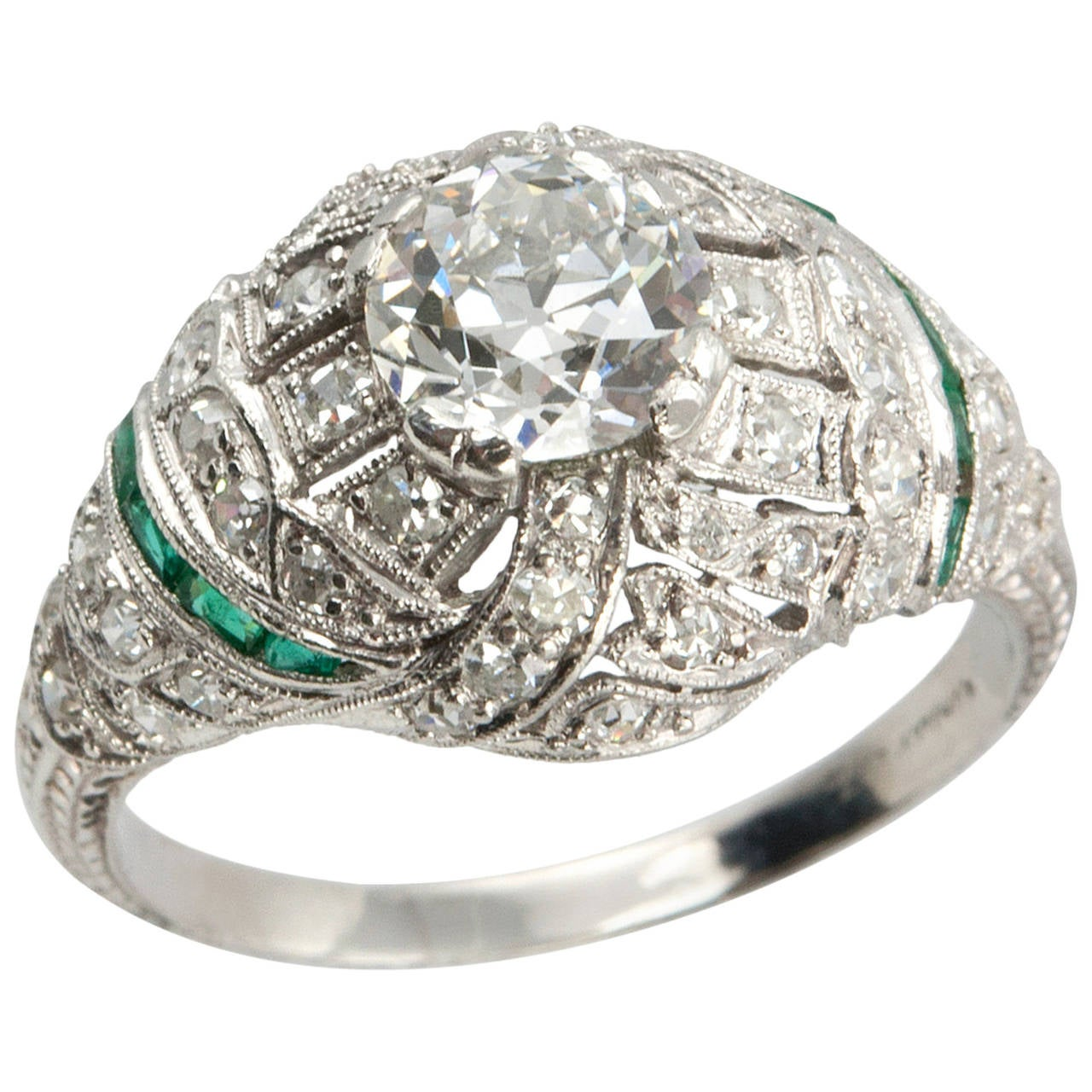 0 92 Carat Old European Cut Diamond Engagement Ring with Emerald Accents For