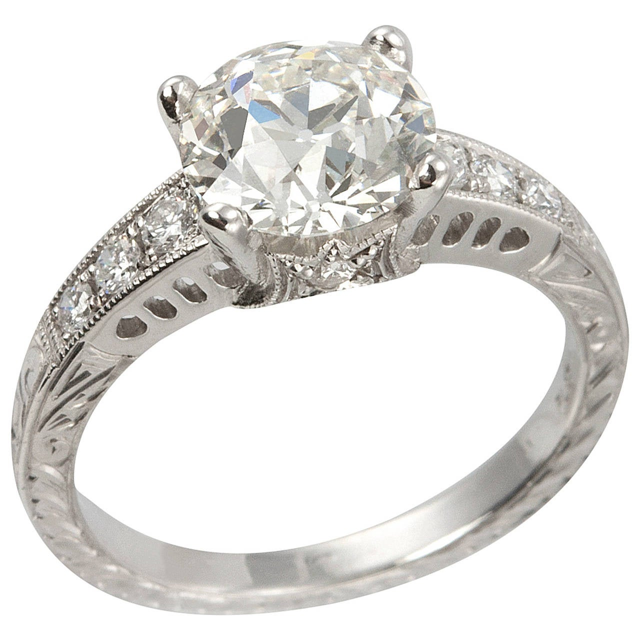 1.91 Carat Old European Cut Diamond Platinum Engagement Ring
