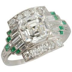 1930s 1.51 Carat GIA Cert Asscher Cut Diamond Emerald Platinum Engagement Ring