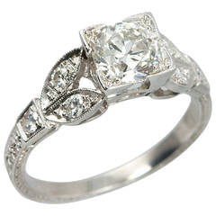 Old European Cut Diamond Platinum Engagement Ring