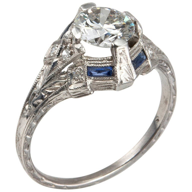 art deco 093 carat diamond engagement ring with sapphire With wedding rings with sapphire accents