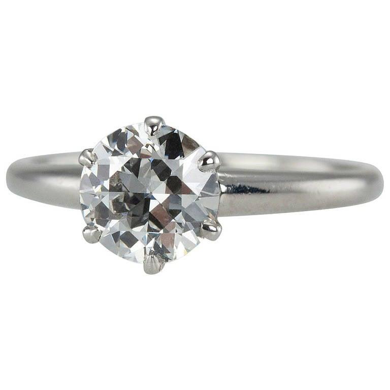1.01 Carat Diamond Platinum Solitaire Ring 1930s For Sale
