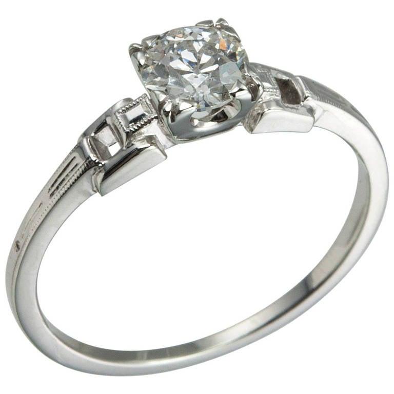 Art Deco 0.55 Carat Old European Cut Diamond Platinum Ring
