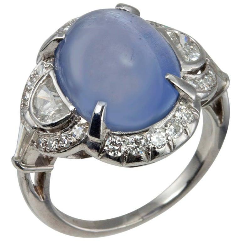 Art Deco Cabochon Sapphire Diamond Ring
