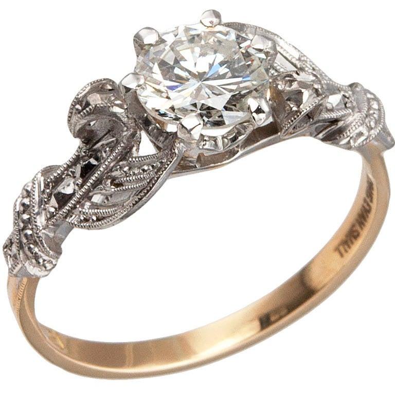 Edwardian 0.84 Carat Diamond Gold Platinum Engagement Ring 1