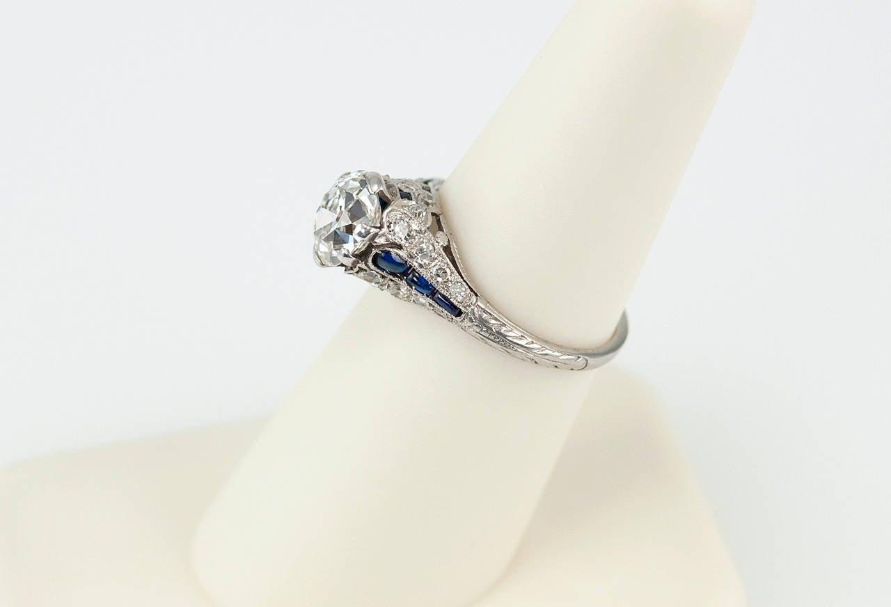 1 57 carat cushion cut sapphire platinum antique