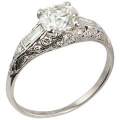 Art Deco 1.18 Carat Old European Cut Diamond Platinum Engagement Ring