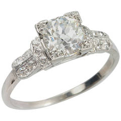 Art Deco 1.01 Carat Cushion Cut Diamond Platinum Engagement Ring