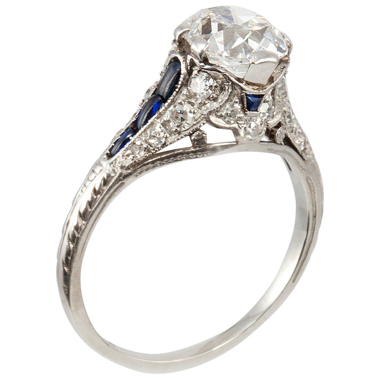 1 57 Carat Cushion Cut Diamond Sapphire Platinum Antique Engagement Ring For