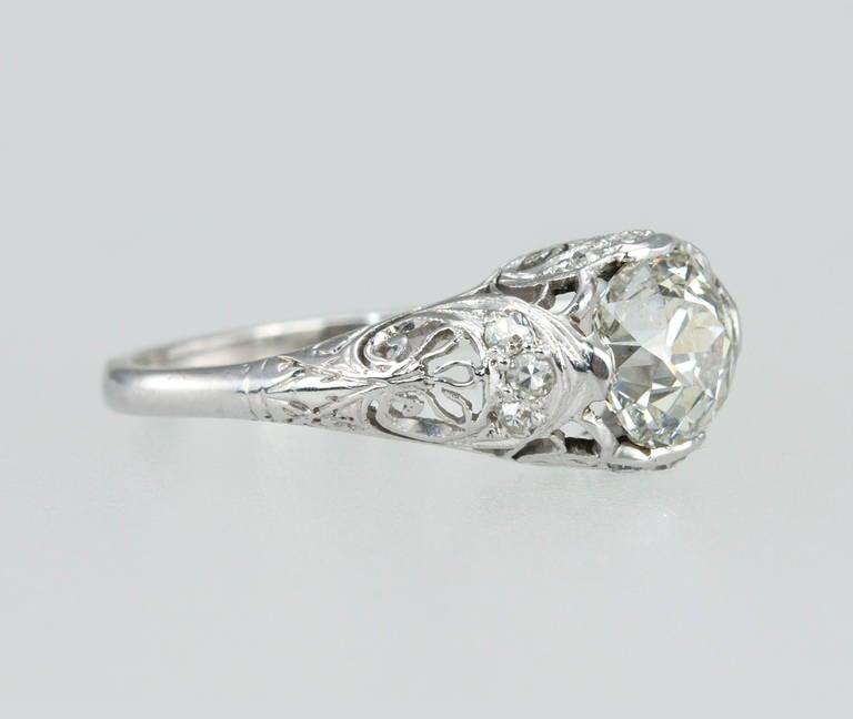 Edwardian 1.31 Carat Diamond Engagement Ring For Sale 1