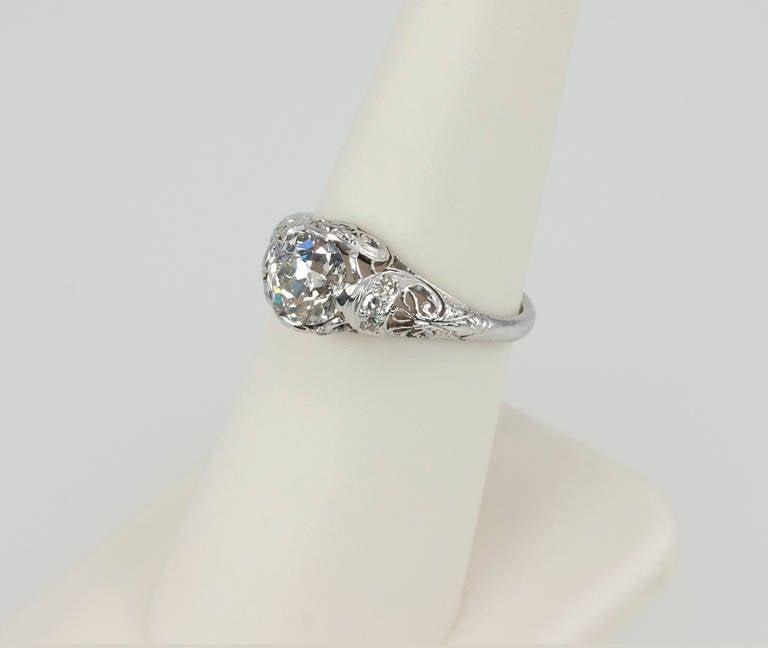 Edwardian 1.31 Carat Diamond Engagement Ring For Sale 3