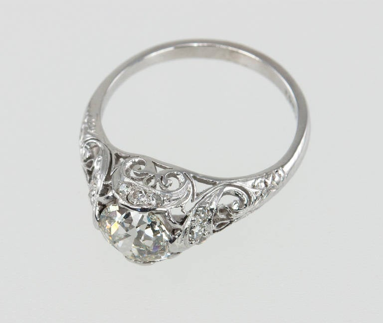 Edwardian 1.31 Carat Diamond Engagement Ring For Sale 2