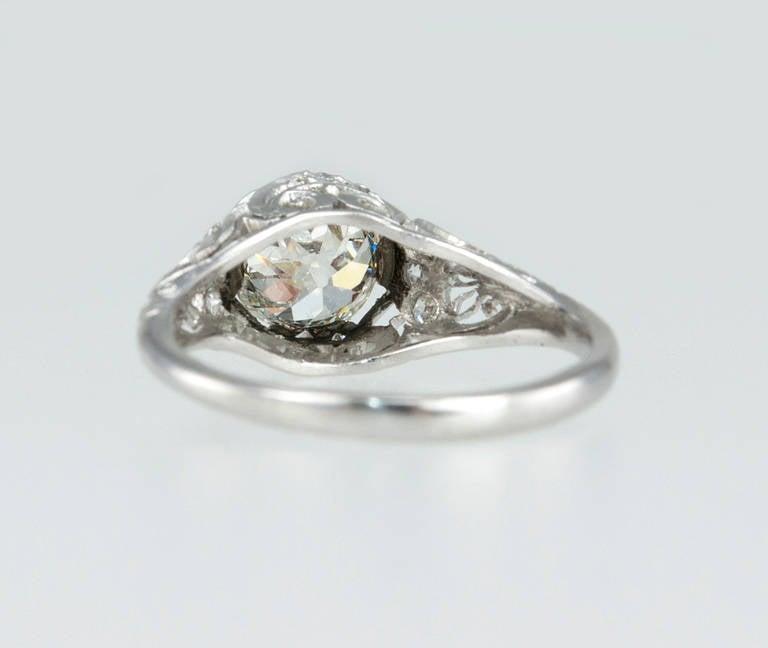 Edwardian 1.31 Carat Diamond Engagement Ring For Sale 5