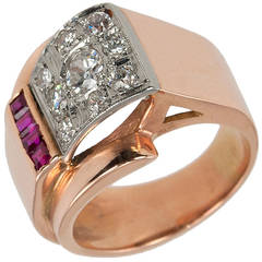 Ruby Diamond Rose Gold Retro Ring
