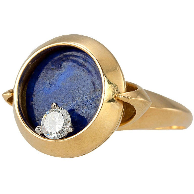 unique lapis lazuli gold spinning ring at 1stdibs