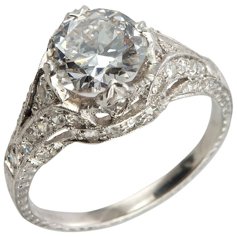 1 53 Carat Antique Diamond Engagement Ring For Sale at 1stdibs