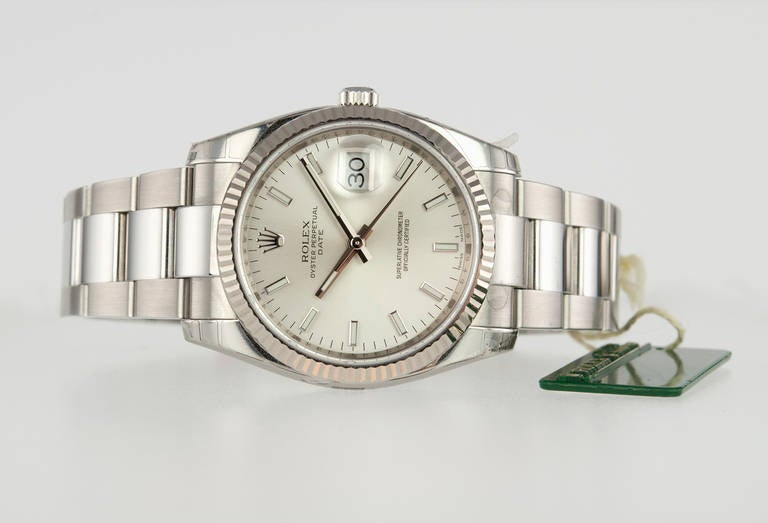 Women's or Men's Rolex Stainless Steel Date Wristwatch Ref 115234 circa 2009 For Sale