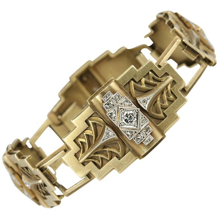 Art Deco Egyptian Revival Link Bracelet 1