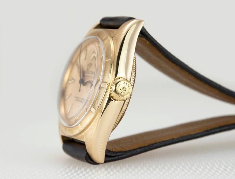 Rolex Yellow Gold Bubbleback Wristwatch Ref 6011 crica 1950s 2