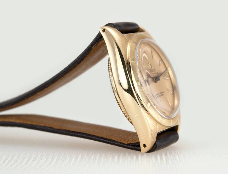 Rolex Yellow Gold Bubbleback Wristwatch Ref 6011 crica 1950s 3