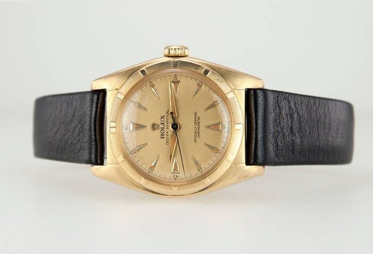 Rolex Yellow Gold Bubbleback Wristwatch Ref 6011 crica 1950s 4