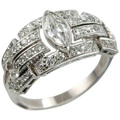 Art Deco Diamond Platinum Ring with Marquise Centre