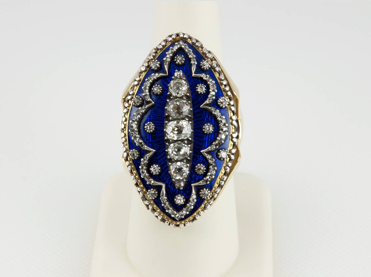 Navette Shaped Blue Enamel Diamond Ring 5