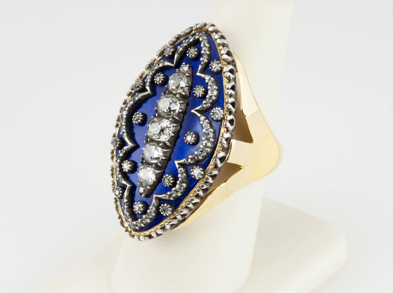 Navette Shaped Blue Enamel Diamond Ring 6
