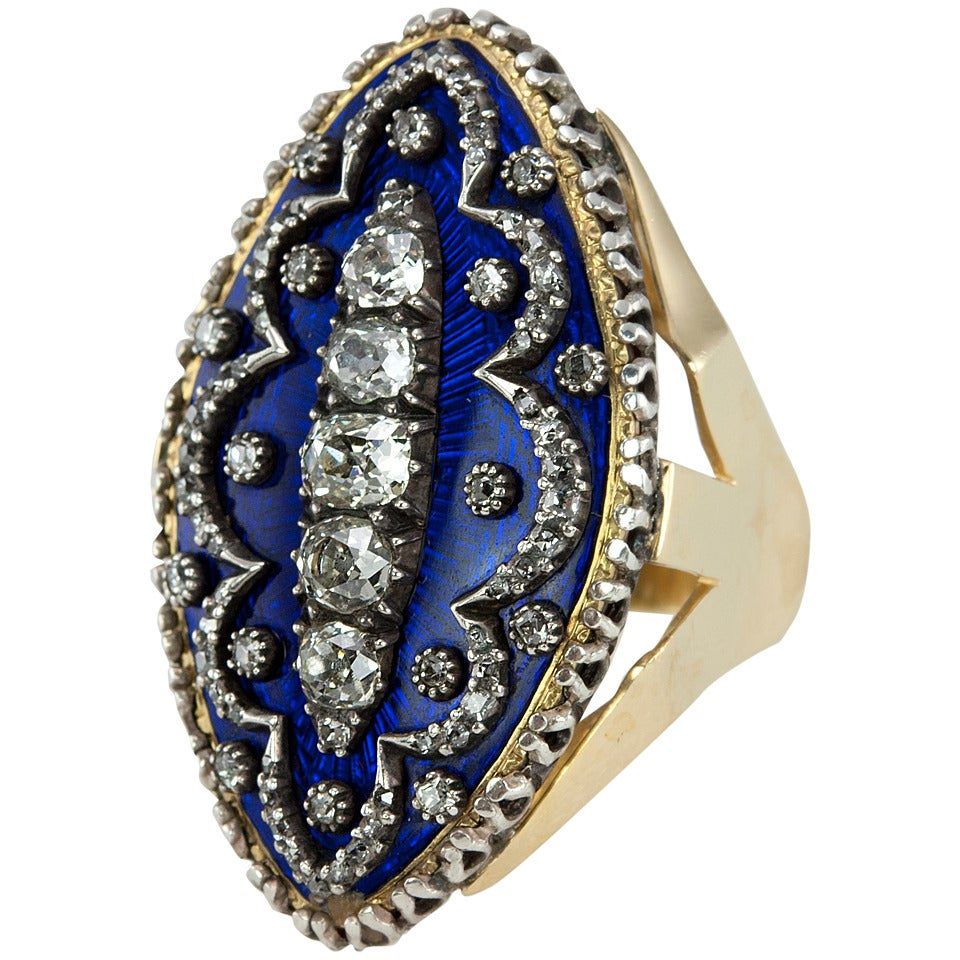 Navette Shaped Blue Enamel Diamond Ring 1