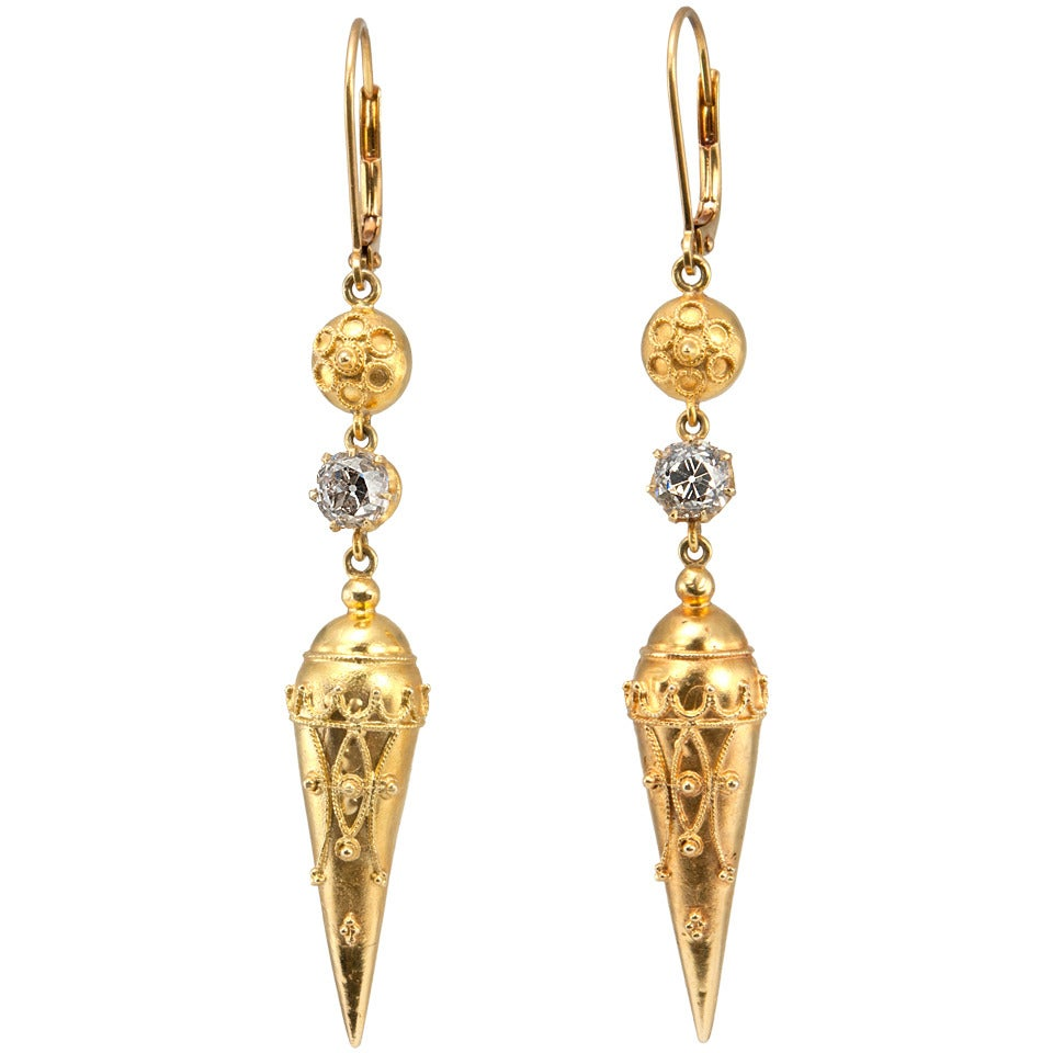 Victorian Etruscan Revival Earrings in Gold with Old Mine Cut Diamonds