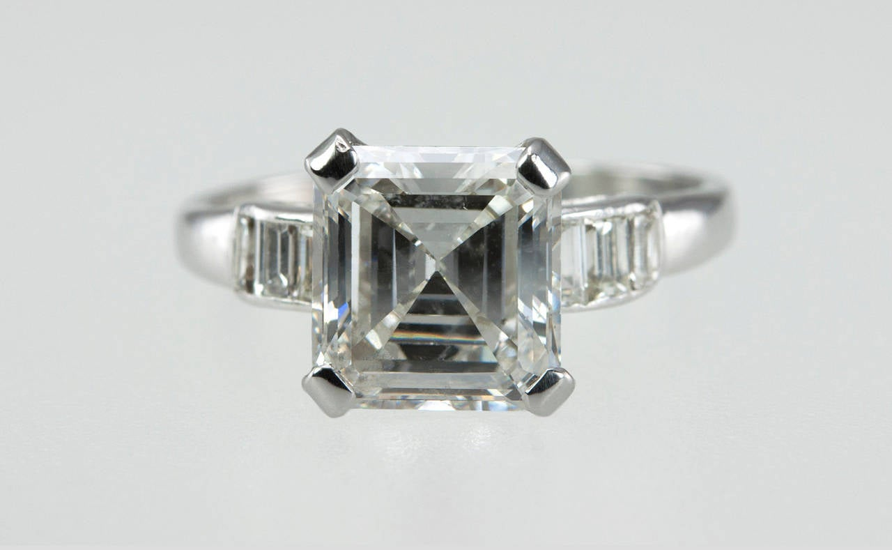 2 26 Carat Square Emerald Cut Diamond Engagement Ring For Sale at 1stdibs