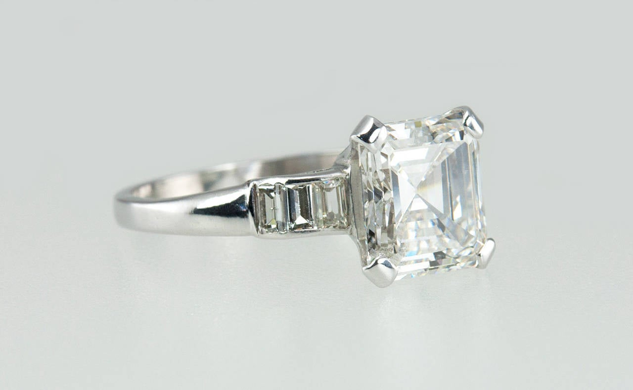 2 26 Carat Square Emerald Cut Diamond Engagement Ring at 1stdibs