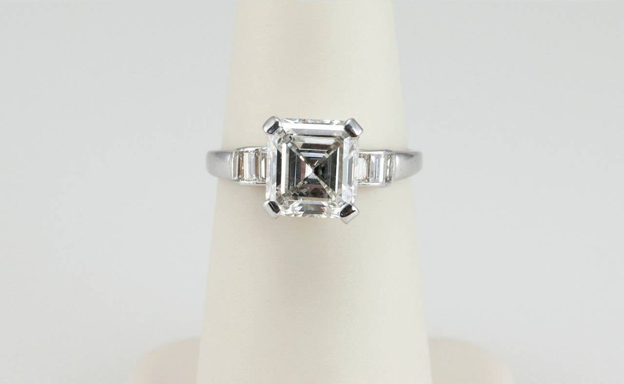 700bb33b57820 2.26 Carat Square Emerald Cut Diamond Engagement Ring