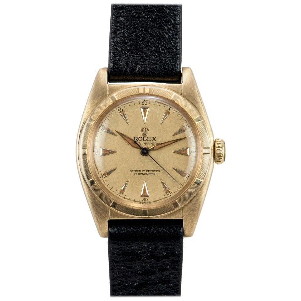 Rolex Yellow Gold Bubbleback Wristwatch Ref 6011 crica 1950s 1