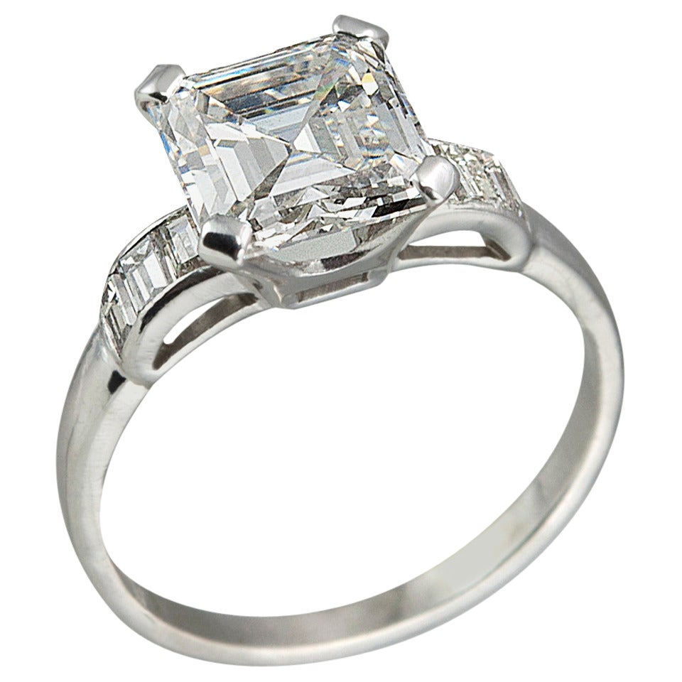 Carat square emerald cut diamond engagement ring at for 26 carat diamond ring