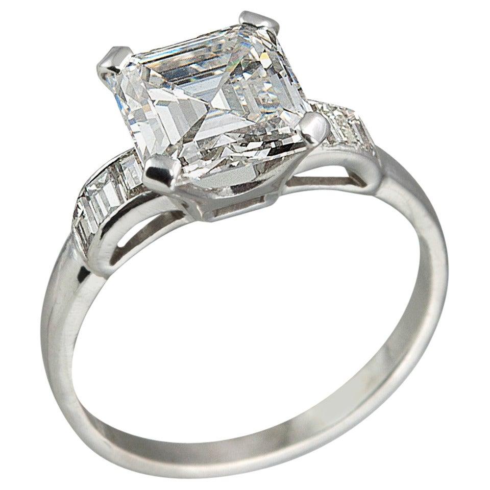 226 carat square emerald cut diamond engagement ring 1 - Square Diamond Wedding Rings